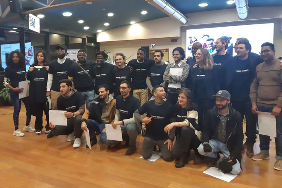 Powercoders launches the first coding course for refugees in Italy, in Turin.